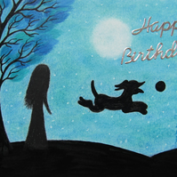 Dog Birthday Card, Daughter Art Card, Black Dog Girl Tree, Mum Birthday Card