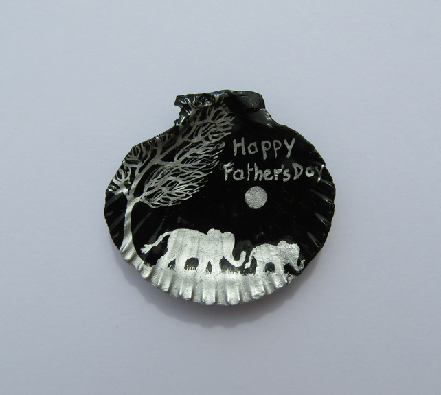 Fathers Day Card, Elephant Moon, Hand painted Shell, Unique Father Day Card, Art