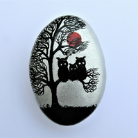 Three Owls Tree Painting on Rock, Fathers Day Gift, Stone Art, Hand Painted Owl