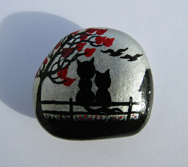 Cat Magnet, Fathers Day Gift, Hand Painted Stone, Black Kitten Tree, Rock Art