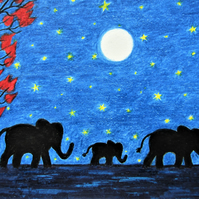 Elephants Card, Fathers Day, Moon Stars Baby Elephant Card, Family Art Card