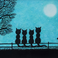 Four Cats Card, Fathers Day Card, Moon Tree Black Cat Art Card, Family Card