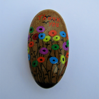 Unique Thank You Gift, Flowers Painted Stone, Teacher Gift, Rock Art Painting