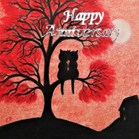 Cat Tree Card, Wedding Anniversary Card, Black Cat Art Card, Engagement Red Tree
