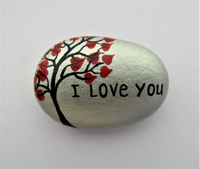 Love Gift, Stone Magnet, Hand Painted Rock, I Love You Tree Hearts Painting, Art