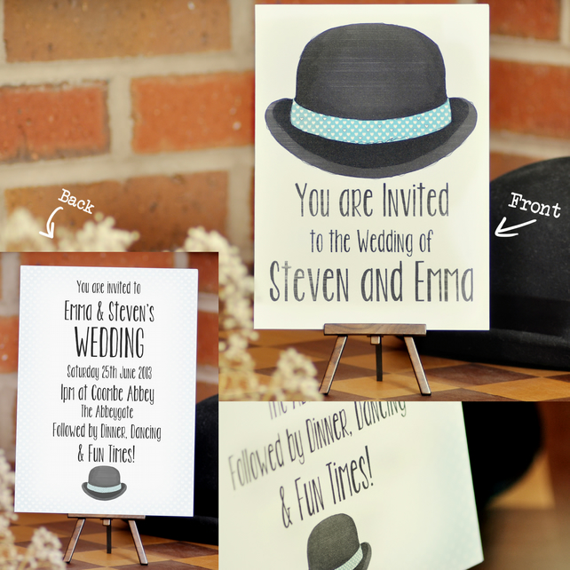 Bowler hat wedding invite invite only sample folksy bowler hat wedding invite invite only sample stopboris Image collections