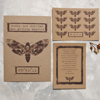 Pinned Moth Wedding Invitation - Full Suite Sample