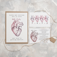 Anatomical Heart Wedding Invitation - Full Invite Sample