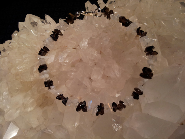 Rainbow Moonstone and Smokey Quartz Chip Bracelet