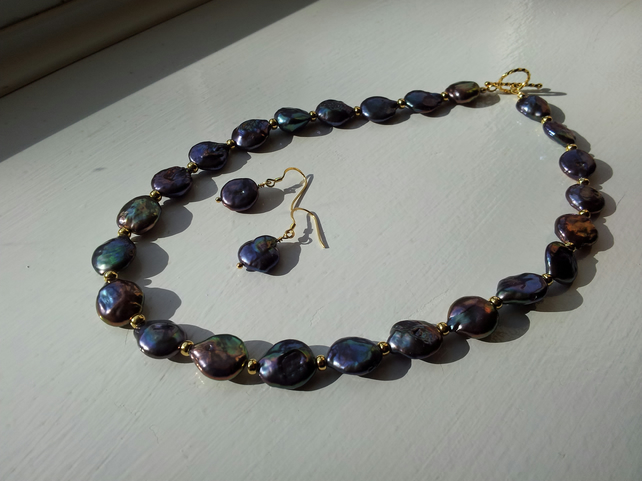 Multi-Coloured Cultured Pearl and Gold-Plated Bead Necklace and Earring Set