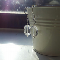 Sparkling Quartz and Sterling Silver Earrings