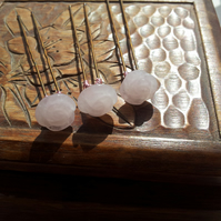 3 Rose Quartz Carved Roses on Hair Pins