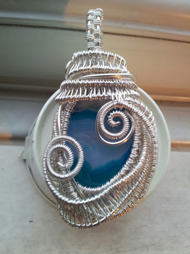 Turquoise Onyx and Silver Complex Wire-wrapped Pendant