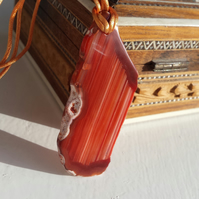 Orange Stripe Agate Slab Necklace
