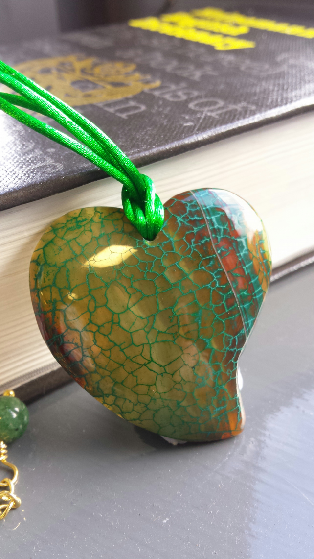 Green Valentine Boho Heart Necklace