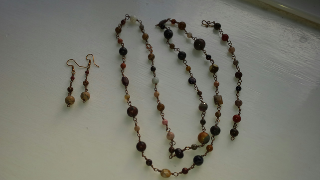 Eclectic Autumn Rosary Necklace