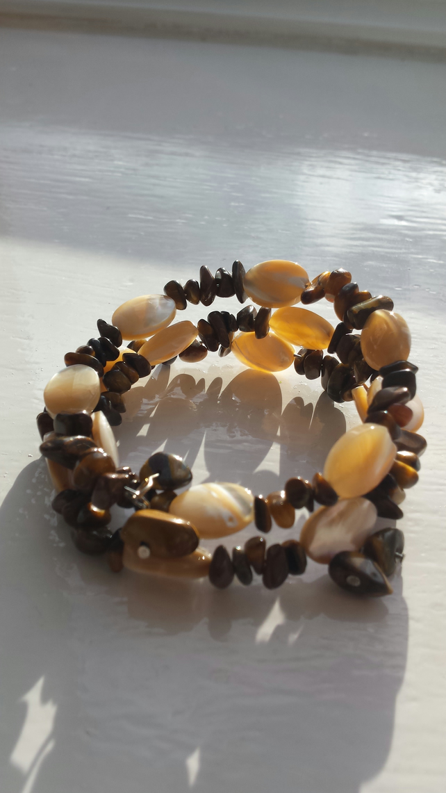 Tigers eye and Shell Coil Bracelet