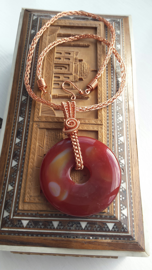 Orange Agate Donut and Copper Wire Necklace