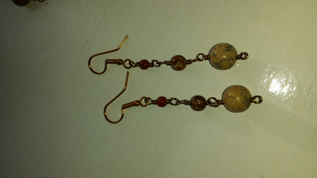 Eclectic Autumn Rosary Earrings
