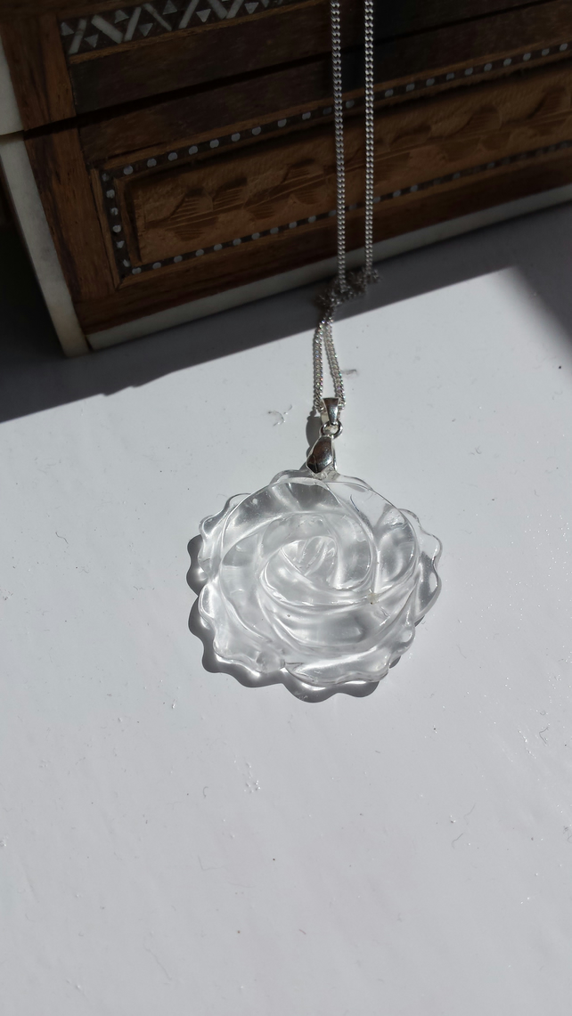Crystal Rose Sterling Silver Necklace