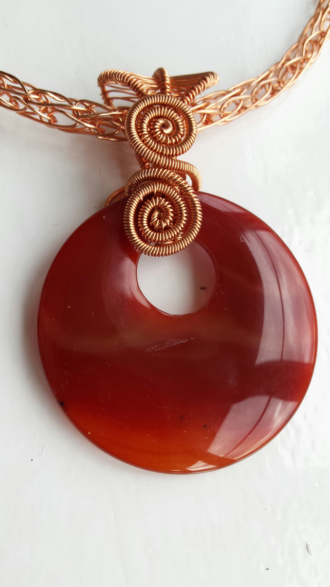 Reversible Orange Agate Asymetrical Donut wrapped in Copper with Chain