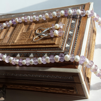Pink Amethyst and Pearl Necklace and Earring set