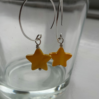 Yellow Hoop And Star Shell Earrings