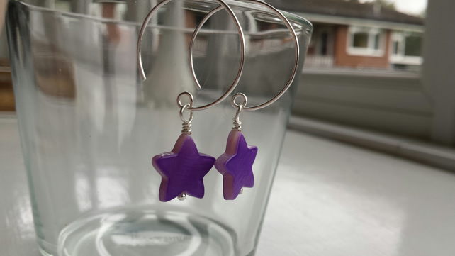 Purple Shell Star and Hoop Earrings