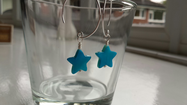 Turquoise Shell Star and Hoop Earrings