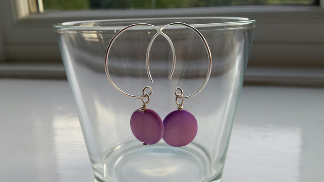 Purple Shell Disc and Hoop Earrings