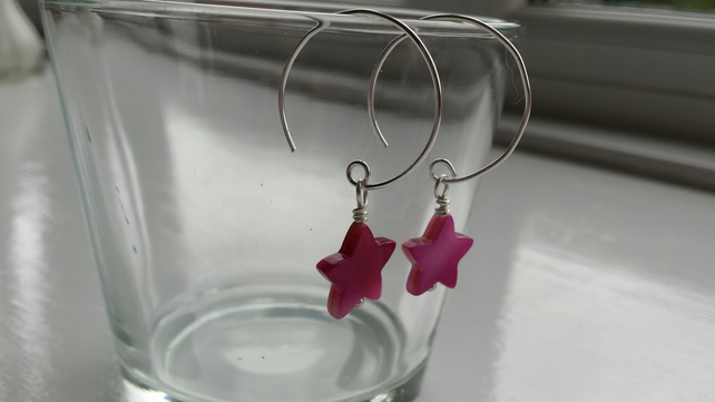 Bright Pink Shell Star and Hoop Earrings