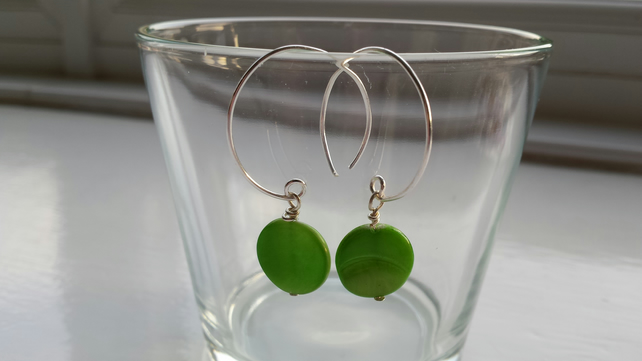 Green Shell Disc and Hoop Earrings