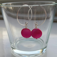 Bright Pink Shell Disc and Hoop Earrings