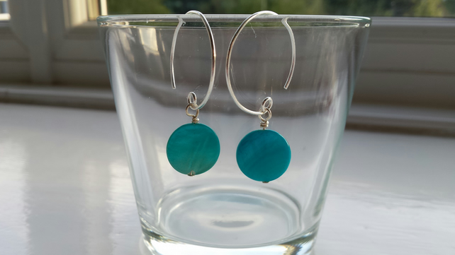 Turquoise Shell Disc and Hoop Earrings