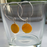 Yellow Shell Disc and Hoop Earrings