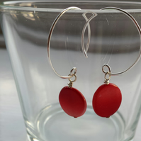 Red Shell Disc and Hoop Earrings