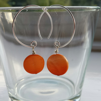 Orange Shell Disc and Hoop Earrings