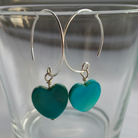 Turquoise Shell Heart and Hoop Earrings