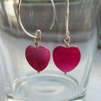 Bright Pink Shell Heart and Hoop Earrings