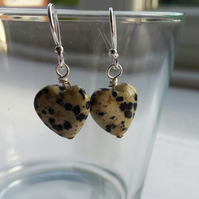 Dalmation Jasper Heart Earrings