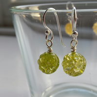 Lime Green Crackle Quartz Swirl Earrlings