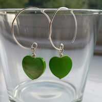 Green Shell Heart and Hoop Earrings