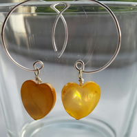 Yellow Shell Heart and Hoop Earrings