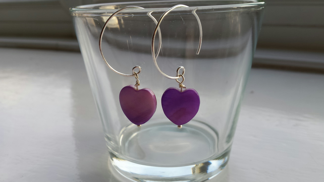 Purple Shell Heart and Hoop Earrings