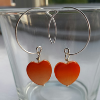 Orange Shell Heart and Hoop Earrings