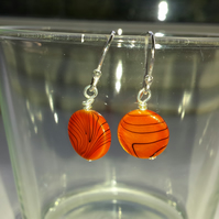Orange Shell Patterned Disc Earrings