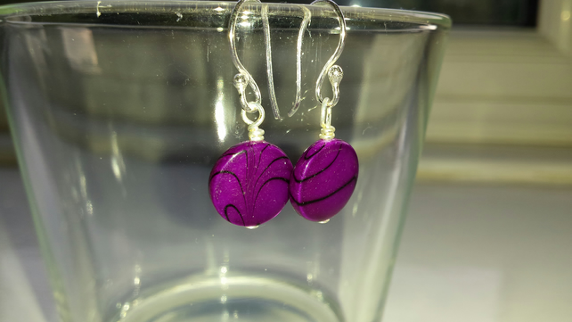 Purple Pattern Shell Disc Earrings