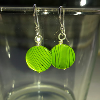 Green Patterned Shell Disc Earrings
