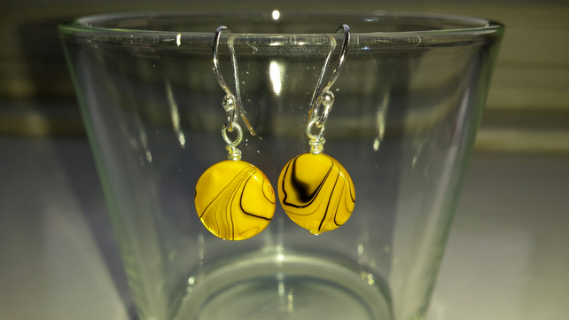 Yellow Patterned Shell Disc Earrings