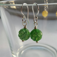 Bright Green Crackle Quartz Swirl Earrlings
